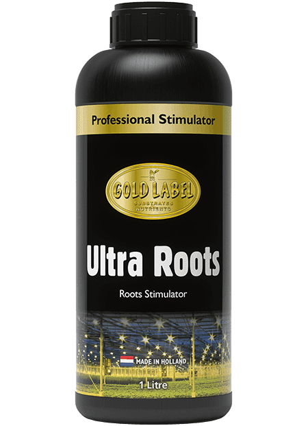 Black bottle of Gold Label Ultra Roots
