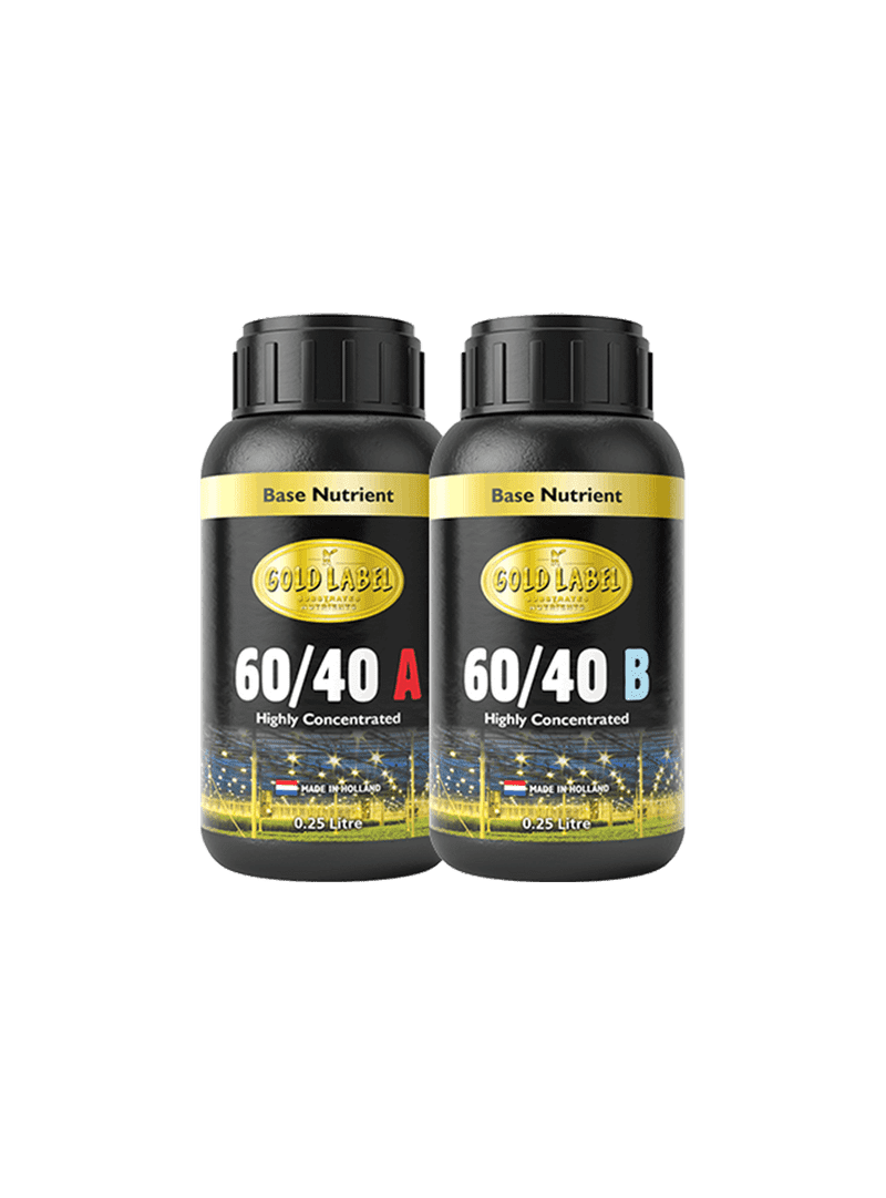 2 black 250ml bottles of Gold Label 60/40 A and 60/40 B