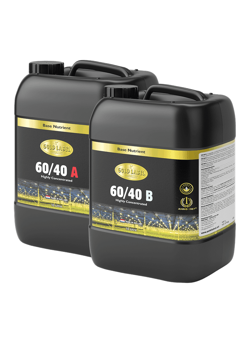 2 black 10 Litre bottles of Gold Label 60/40 A and 60/40 B