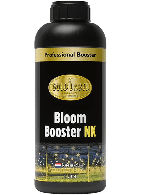 Black bottle of Gold Label Bloom Booster NK