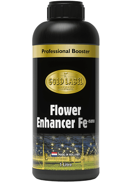 Black bottle of Gold Label Flower Enhancer Fe Nano